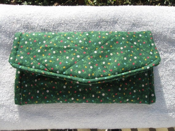 Clearance Sun or Eye Glass Case Green with Small Flowers Quilted Fabric Case