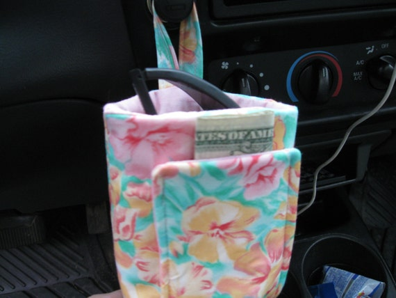 Floral IPod Pocket or Sunglass Holder for in your Car at your desk mesures 4-1/2 inches Tall with a 2 inch depth
