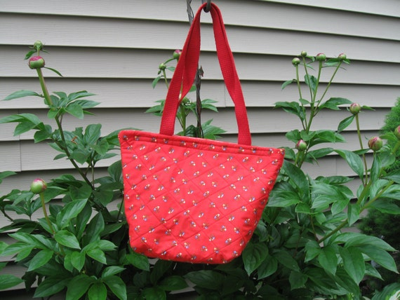 Insulated Red Floral Lunchbag or Lunchbox Red Quilted