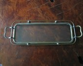Antique Small Brass Color Metal Serving Tray with Glass