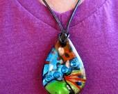 Retro 80's Design Glass Pendant Necklace