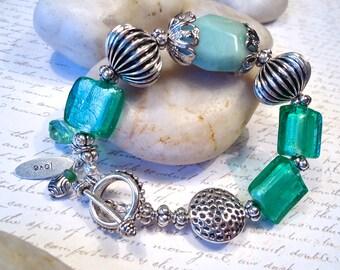 Amazonite Nugget and Aqua Lampwork Glass Bracelet