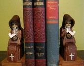 Wooden Hand Carved Bookends Praying Monk
