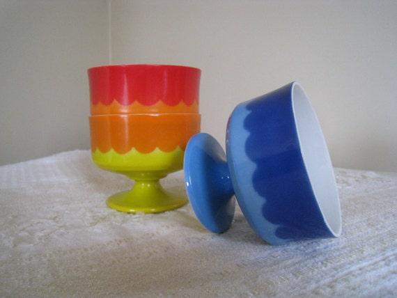 Mid Century Modern Milk Glass Dessert Cups