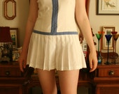 SALE Vintage Pleated Summer Tennis Dress in White & Lilac