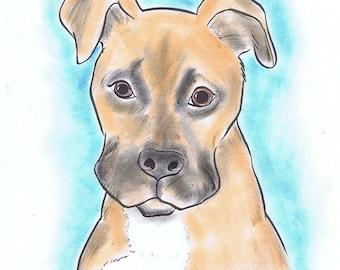 Pet portrait. Custom drawn in Color