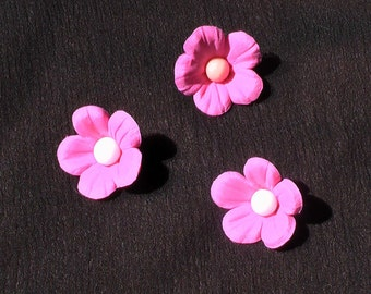 24 Edible Gum Paste Flowers with Pearl Centers Cupcake or Cake Toppers -- Made to Order