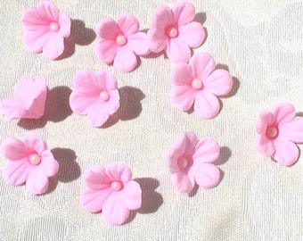 24 Pink Little Gum Paste Flowers