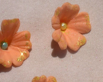 Peach Gum Paste Flowers with Glitter