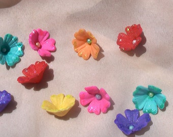 24 Petite Summer Flowers with Glitter