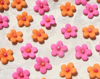 Orange and Hot Pink Gum Paste Blossoms