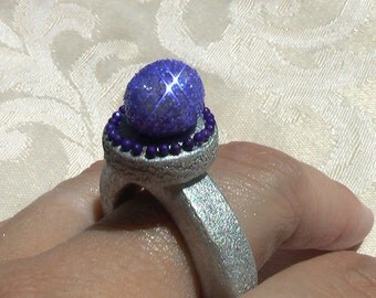 Blue and Silver Gum Paste Ring