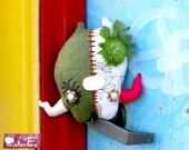 Martha: Sage Green & Natural White Whimsical Quazi-Pod Art Plush