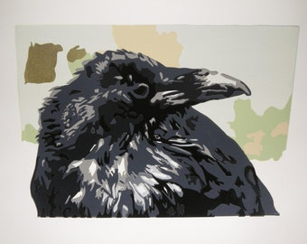 Tuuluuwaq: Original wise raven reduction relief print with signature