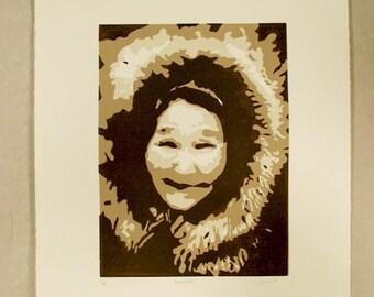 Aipalovik: Original eskimo old woman elder linocut relief print with signature