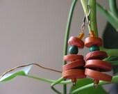 African Malachite & Wood Earrings