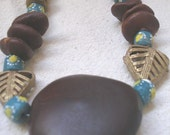 AMAN African Brass Krobo glass Palm  and Fern Leaves Necklace by Fianaturals on Etsy