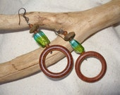 African inspired Bluegreen Glass & Wood Hoop Earrings by Fianaturals on Etsy