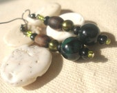 African Glass brown Green Fire Agate  Earrings by Fianaturals
