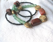 African  Gemstone Carnelian Agate Brass recycled glass seed Sunshine Necklace by Fianaturals on Etsy