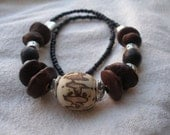African Raffia Palm nut Brown Silver seed Necklace by Fianaturals