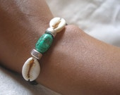African inspired Turquoise Cowrie shell Bracelet by Fianaturals on Etsy