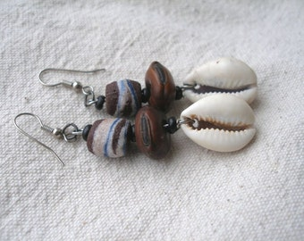 African Cowrie Shell Seed & Glass Earrings