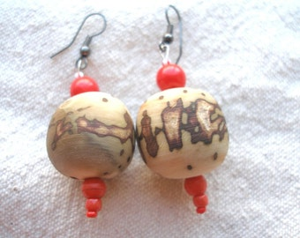 African Raffia palm nut in red Earrings by Fianaturals