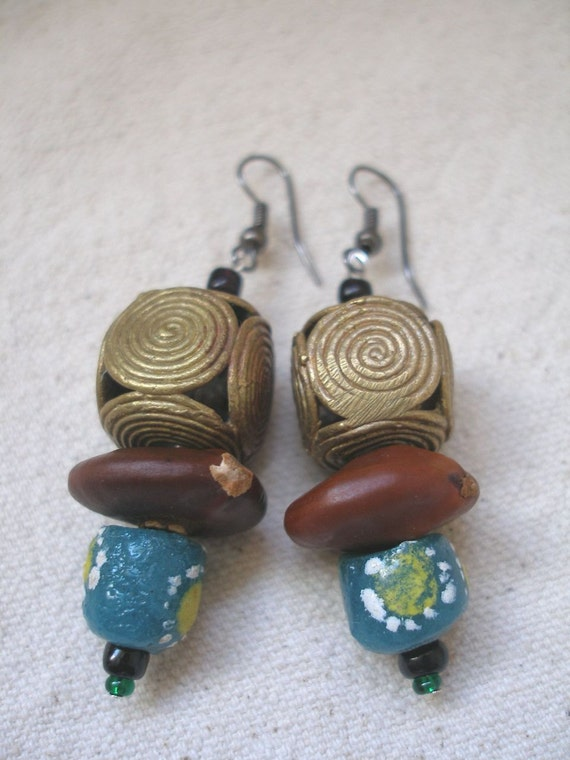 AMAN African Brass Krobo glass Seed Palm and Fern earrings by Fianaturals on Etsy