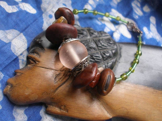 African seed & Glass Beauty Bracelet by Fianaturals on Etsy