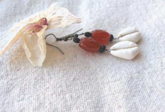 African Cowrie Carnelian Earrings by Fianaturals on Etsy