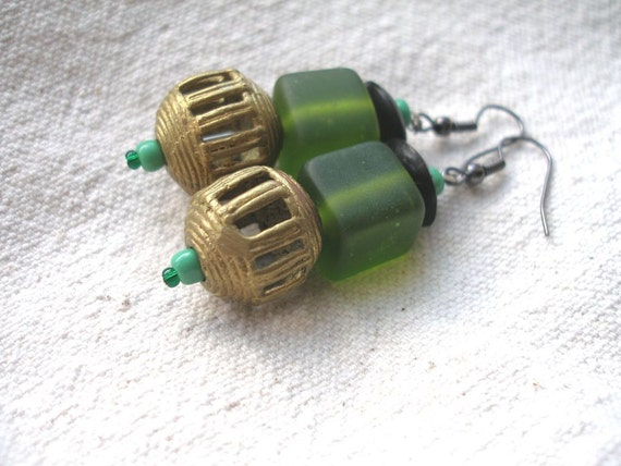 African Brass and green glass horn Earrings by Fianaturals