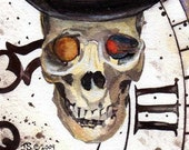 READY TO SHIP  Top Hat Steampunk Clocks Time Skull Original Watercolor Fine Art Print