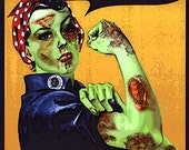 Zombie Rosie the Riveter Photographic print Large Digital Painting 24x36 FREE SHIP USA