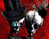 Stolen Heart Skeleton Couple Original digital painting Lustre Photo Art Print 10x15
