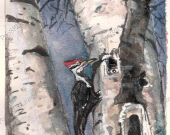 READY TO SHIP Skulls & Birds in A Petrified Tree Original Watercolor  wildlife Fine Art Giclee print