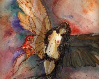 Raven & Butterfly Winged Fairy Watercolor Original Fine Art Giclee Print