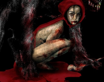 Undead (Red) Riding Hood Original digital painting Lustre Photo Art Print 11x22