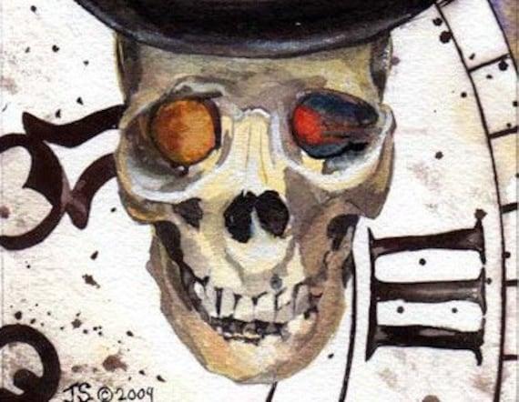 READY TO SHIP  Top Hat Steampunk Clocks Time Skull Original Watercolor Fine Art Print