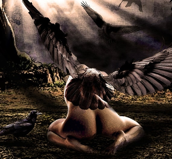 Taking Flight (raven winged nude) Original digital painting Lustre Photo Art Print 11x14