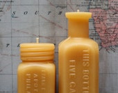"Beeswax Candle Set - antique bottle shaped - ""Sm. Apothecaries and Root Beer Extract"" - by Pollen Arts - Sm and Md."