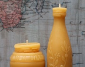"Beeswax Candle Set - antique bottle shaped - ""Sm. Milk Weed Cream and Lime Juice w/ flowers"" - by Pollen Arts - Sm"