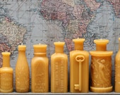 """Beeswax Candle Collection - antique bottle shaped - """"Huge Lot"""" - by Pollen Arts - 13 candles"""