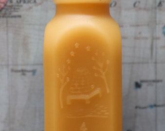 """beeswax Candles - antique bottle shaped - """"4oz HONEY"""" - by Pollen Arts - Md."""