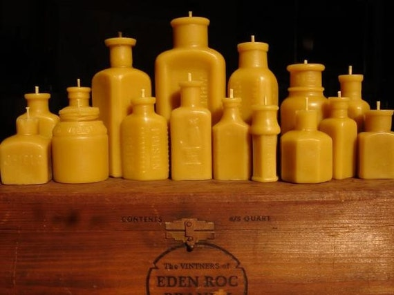 Antique bottle-shaped Beeswax Candles - Entire Wedding Collection - 17 pieces - Discounted - Worldwide Shipping soy free