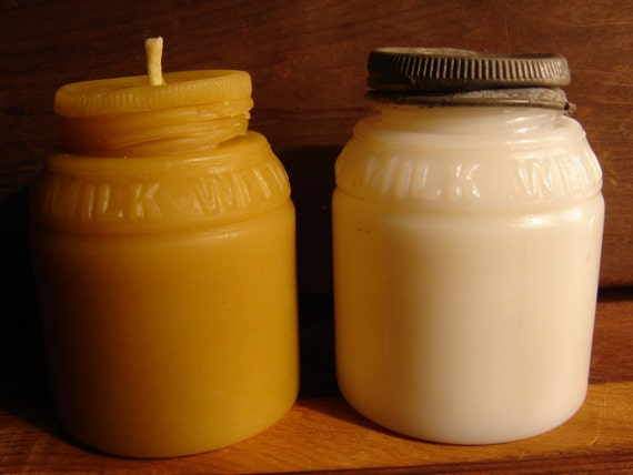 1890 - MILK WEED CREAM - Antique bottle-shaped Beeswax Candle - Votive Size