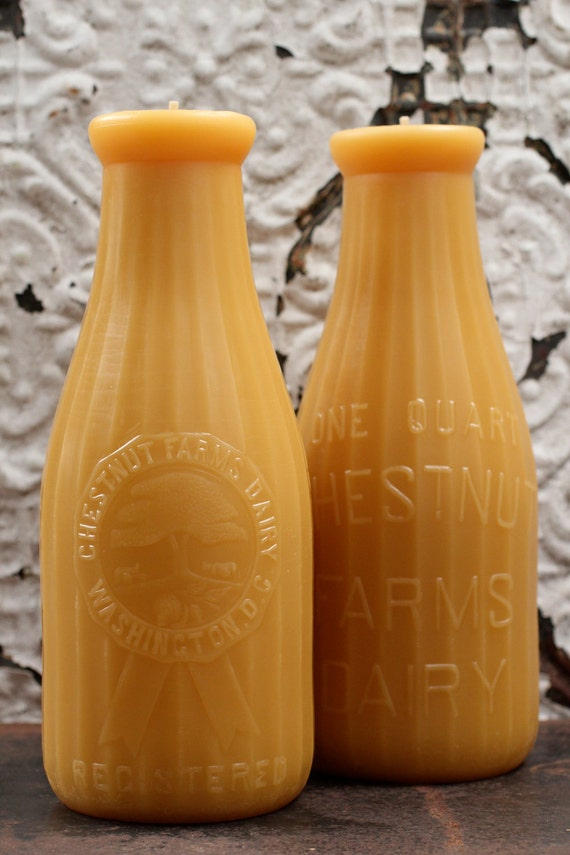 """Beeswax Candle - antique bottle shaped - XXL """"DAIRY QUART"""" - by Pollen Arts"""