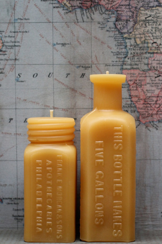 """Beeswax Candle Set - antique bottle shaped - """"Sm. Apothecaries and Root Beer Extract"""" - by Pollen Arts - Sm and Md."""