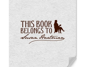 Personalized Bookmark Stamp  - Library - Book Stamps - Wood Mounted Stamper - Home Office Stamp - Housewarming - Bookworm - DIY Printing