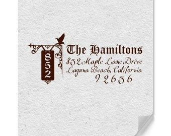 Personalized Address Stamps - Custom Stamp - Bird Silhouette - Calligraphy - Address Sign Post - Housewarming - DIY Printing -  Weddings